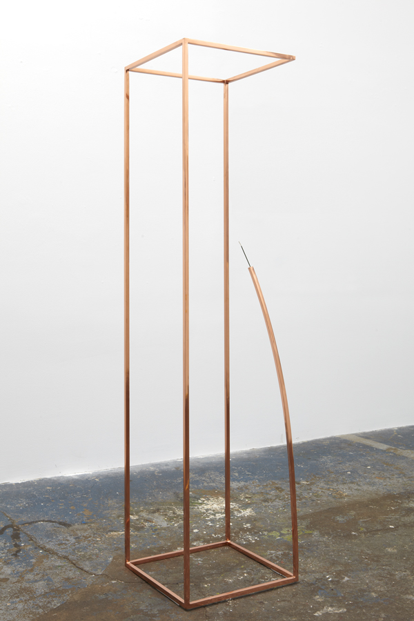 Untitled (Incense Holder) Sculpture by Martin Oppel. Mirror Polished Copper Plated Steel. 60 x 15 x 15 inches.