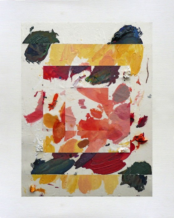 Untitled (Palette Composition) Painting by Martin Oppel. Oil on Canvas Paper. Craig Robins Collection