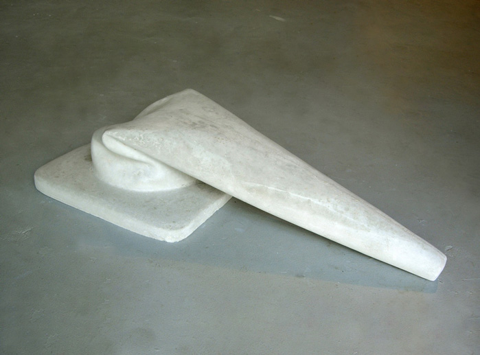 Concrete Flaccid Cone Sculpture by Martin Oppel. Cast Concrete. 8 x 35 x 16 inches.